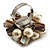Faux Pearl & Shell Cluster Silver Tone Ring (Light Cream & Antique White) - view 4