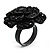 Sultry Crystal Rose Cocktail Ring (Black Tone) - view 5