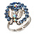 Crystal Butterfly And Flower Ring (Silver&Light Blue)