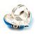 Light Blue Enamel Diamante Asymmetrical Heart Ring (Silver Tone) - view 7