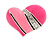 Bright Pink Enamel Diamante Asymmetrical Heart Ring (Silver Tone) - view 3