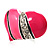 Bright Pink Enamel Diamante Asymmetrical Heart Ring (Silver Tone) - view 10