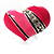 Bright Pink Enamel Diamante Asymmetrical Heart Ring (Silver Tone) - view 7