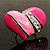 Bright Pink Enamel Diamante Asymmetrical Heart Ring (Silver Tone) - view 4