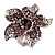 Light Purple Diamante Flower Ring (Silver Tone)