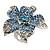 Light Blue Diamante Flower Ring (Silver Tone)