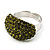 Austrian Crystal Dome Shape Silver Tone Ring (Olive)
