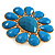 Oversized Turquoise Coloured Floral Acrylic Cocktail Ring (Gold Tone) - view 9