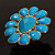 Oversized Turquoise Coloured Floral Acrylic Cocktail Ring (Gold Tone) - view 11