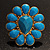 Oversized Turquoise Coloured Floral Acrylic Cocktail Ring (Gold Tone) - view 6