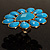 Oversized Turquoise Coloured Floral Acrylic Cocktail Ring (Gold Tone) - view 7