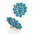 Oversized Turquoise Coloured Floral Acrylic Cocktail Ring (Gold Tone) - view 12
