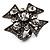 Vintage Diamante Cross Ring (Gun Metal Finish)