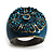 Crystal Floral Teal Coloured Enamel Shield Ring (Bronze Tone) - view 3