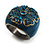 Crystal Floral Teal Coloured Enamel Shield Ring (Bronze Tone) - view 4