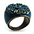Crystal Floral Teal Coloured Enamel Shield Ring (Bronze Tone) - view 5