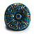 Crystal Floral Teal Coloured Enamel Shield Ring (Bronze Tone) - view 2