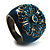 Crystal Floral Teal Coloured Enamel Shield Ring (Bronze Tone) - view 6