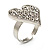 Romantic Crystal Heart Ring (Silver & Clear) - view 4