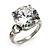 Clear Crystal CZ Rock Solitaire Ring (Silver Tone)