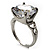 Clear Crystal CZ Rock Solitaire Ring (Silver Tone) - view 2