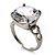 Clear Crystal CZ Rock Solitaire Ring (Silver Tone) - view 3