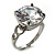 Clear Crystal CZ Rock Solitaire Ring (Silver Tone) - view 4