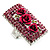 Square Crystal Rose Cocktail Ring (Silver Tone) - view 8