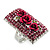 Square Crystal Rose Cocktail Ring (Silver Tone) - view 9