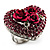 Heart Crystal Rose Cocktail Ring (Silver Tone) - view 2