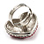 Heart Crystal Rose Cocktail Ring (Silver Tone) - view 7