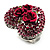 Heart Crystal Rose Cocktail Ring (Silver Tone) - view 8
