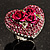 Heart Crystal Rose Cocktail Ring (Silver Tone) - view 4