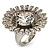 Large Floral Clear CZ Cocktail Ring (Silver Tone) - view 3