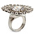 Large Floral Clear CZ Cocktail Ring (Silver Tone) - view 8