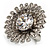 Large Floral Clear CZ Cocktail Ring (Silver Tone) - view 9