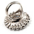 Large Floral Clear CZ Cocktail Ring (Silver Tone) - view 6