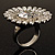 Large Floral Clear CZ Cocktail Ring (Silver Tone) - view 4