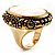 Antique Gold Shell Crystal Chunky Ring - view 6