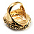 Antique Gold Shell Crystal Chunky Ring - view 7