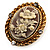 Vintage Floral Crystal Cameo Ring (Burnished Gold) - view 4