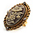 Vintage Floral Crystal Cameo Ring (Burnished Gold) - view 6