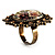 Vintage Floral Crystal Cameo Ring (Bronze Tone) - view 6