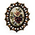 Vintage Floral Crystal Cameo Ring (Bronze Tone) - view 2