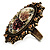 Vintage Floral Crystal Cameo Ring (Bronze Tone) - view 8