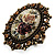 Vintage Floral Crystal Cameo Ring (Bronze Tone) - view 9
