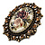 Vintage Floral Crystal Cameo Ring (Bronze Tone) - view 5