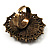 Vintage Floral Crystal Cameo Ring (Bronze Tone) - view 4