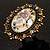 Vintage Floral Crystal Cameo Ring (Bronze Tone) - view 3