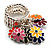 Silver Tone Charm Crystal Flower Stretch Ring (Enamel, Multicoloured)